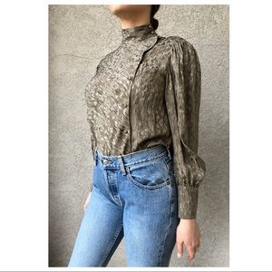 VINTAGE 100% silk asymmetrical blouse